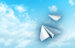 Paper planes. Flying in a blue sky. Digital illustration Royalty Free Stock Photos