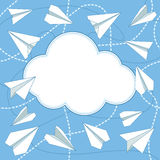 Paper Planes and Cloud Vector Background. Paper airplanes flying around cloud with blank space for text. Paper planes and cloud flat design. Can be used for Stock Photography