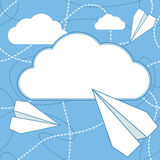 Paper Planes and Cloud Vector Background. Paper airplanes flying around cloud with blank space for text. Paper planes and cloud flat design. Can be used for Royalty Free Stock Photos
