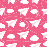 Paper Planes in Clouds Seamless Pattern. Paper planes seamless vector pattern. Repeating abstract background with paper planes. Papercraft airplanes texture stock illustration