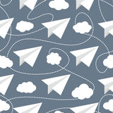 Paper Planes in Clouds Seamless Pattern. Paper planes seamless vector pattern. Repeating abstract background with paper planes. Papercraft airplanes texture vector illustration