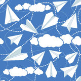 Paper Planes in Clouds Seamless Pattern. Paper planes seamless vector pattern. Repeating abstract background with paper planes. Papercraft airplanes texture royalty free illustration