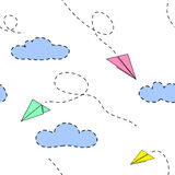 Paper planes and clouds.Usable for children. Seamless vector pattern. Paper planes and clouds.Usable for children. Seamless pattern. Vector illustration Royalty Free Stock Photos