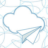 Paper Planes and Clouds Vector Background. Paper planes and clouds vector seamless background. Paper airplanes flying around clouds with blank space for text stock illustration