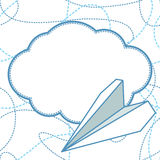Paper Planes and Clouds Vector Background. Paper planes and clouds vector seamless background. Paper airplanes flying around clouds with blank space for text royalty free illustration