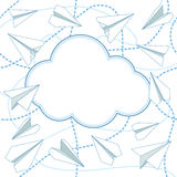 Paper Planes and Clouds Vector Background. Paper planes and clouds vector seamless background. Paper airplanes flying around clouds with blank space for text vector illustration