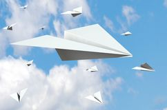 Paper Planes Concept. Paper planes flying in the sky. 3D illustration Royalty Free Illustration