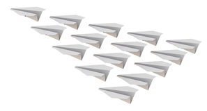 Paper planes flying wedge. White paper planes flying wedge. Isolated. 3D Illustration Royalty Free Stock Image