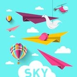 Paper Planes with Hot Air Balloons, Origami Birds. Clouds and Helicopter. Vector Blue Sky Design Vector Illustration