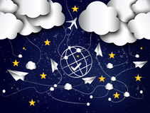 Paper planes in the night sky abstract background Stock Photos