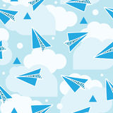 Paper planes seamless pattern. Abstract background with origami airplanes and round clouds. Blue color. Hand drawn style vector illustration
