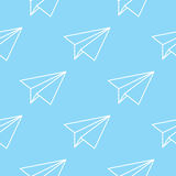 Paper Planes Seamless Pattern. Repeating abstract background with paper planes. Papercraft airplanes texture. EPS8 vector illustration includes Pattern Swatch Stock Photography