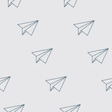 Paper Planes Seamless Pattern. Repeating abstract background with paper planes. Papercraft airplanes texture. EPS8 vector illustration includes Pattern Swatch Royalty Free Stock Photos