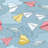 Paper planes seamless texture design. Royalty Free Stock Image