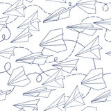 Paper planes  seamless texture pattern. Royalty Free Stock Photos