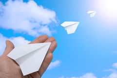 Paper planes in the sky. Royalty Free Stock Photo