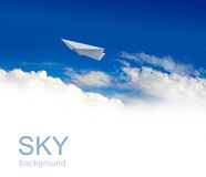 Paper planes in sky Stock Photos