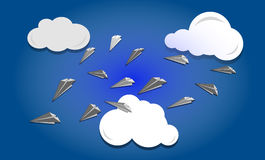 Paper planes in the sky Royalty Free Stock Images