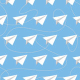 Paper Planes with Tangled Lines Seamless Pattern. Repeating abstract background with paper planes and dashed tangled lines. Paper planes and tangled lines Stock Photography