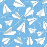 Paper Planes with Tangled Lines Seamless Pattern. Repeating abstract background with paper planes and dashed tangled lines. Paper planes and tangled lines Stock Photo