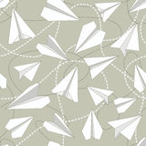 Paper Planes with Tangled Lines Seamless Pattern. Repeating abstract background with paper planes and dashed tangled lines. Paper planes and tangled lines Stock Photos