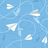 Paper Planes with Tangled Lines Seamless Pattern. Repeating abstract background with paper planes and dashed tangled lines. Paper planes flying on tangled lines Royalty Free Stock Images