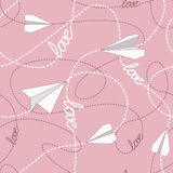 Paper Planes with Tangled Lines Seamless Pattern. Repeating abstract background with paper planes and dashed tangled lines. Paper planes flying on tangled lines Stock Image