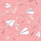 Paper Planes with Tangled Lines Seamless Pattern. Repeating abstract background with paper planes, hearts and dashed tangled lines. Paper planes tangled lines Stock Images