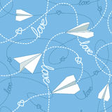 Paper Planes with Tangled Lines Seamless Pattern. Repeating abstract background with paper planes, hearts and dashed tangled lines. Paper planes tangled lines Stock Photos