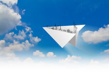Paper planes of travel   (Japan,France,Italy,New Yo Royalty Free Stock Photos