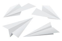 Paper planes. Vector set of paper planes isolated on white background Stock Photos
