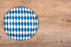 Paper plate with blue and white rhombuses Stock Photos