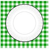 Paper Plate with Green Tablecloth Stock Images