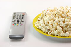 Paper plate and popcorn Royalty Free Stock Photos