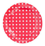Paper plate red with white dots isolate on white background Stock Photography