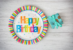 Paper plates designed for birthday party with painted gift box o Stock Photo