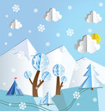 Paper pop up winter landscape Stock Photos