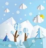 Paper pop up winter landscape. Paper pop up beautiful landscape - snow peaks, trees, snowflakes and tourist's tent Stock Photos