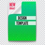 Paper poster with creative idea and curved corner on transparent background. Layout template in A4 size, business. Brochure, flyer design. Sheet of paper with Stock Illustration