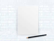 Paper poster frame at tiles ceramic wall and floor Stock Photography