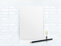 Paper poster frame at tiles ceramic wall and floor Royalty Free Stock Image