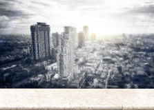 Paper poster at Frosted glass with Landscape View of City Skylin Stock Images
