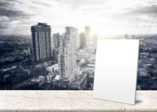 Paper poster at Frosted glass with Landscape View of City Skylin Royalty Free Stock Photos