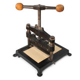 Paper press. Old paper press isolated in white background stock photography