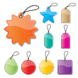 Paper price tag. Set of blank colorful paper price tags and labels with strings stock illustration