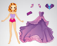 Paper Princess In Purple Dress. Vector illustration of princess paper doll with purple ball dress stock illustration