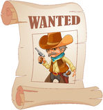 A paper with a print of a wanted cowboy Stock Photo