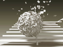 Paper problems, oncoming ball Royalty Free Stock Image