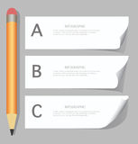 Paper progress steps with pencils, infographics Royalty Free Stock Images