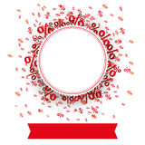 Paper Prongs Emblem Red Banner Percents. Paper emblem with red banner and percents on the white Stock Image